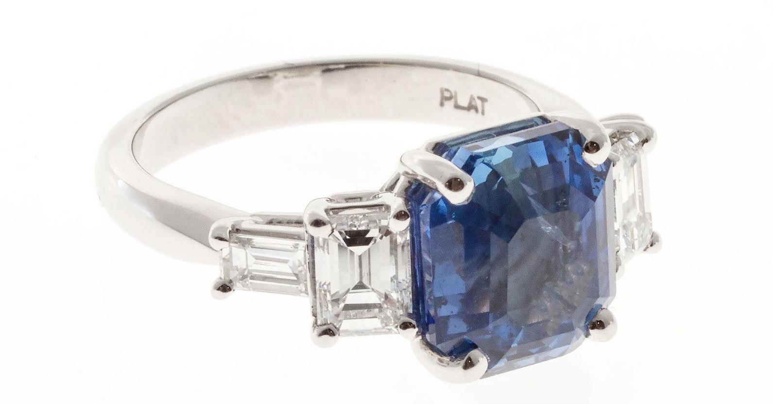 Natural Emerald Cut Sapphire Diamond Engagement Ring Platinum