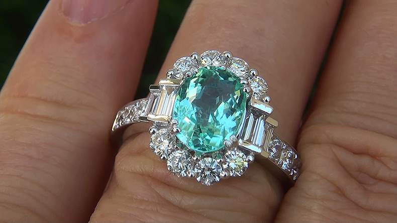 GIA 3.01 ct VVS Natural Paraiba Tourmaline Diamond 14k White Gold Estate Ring