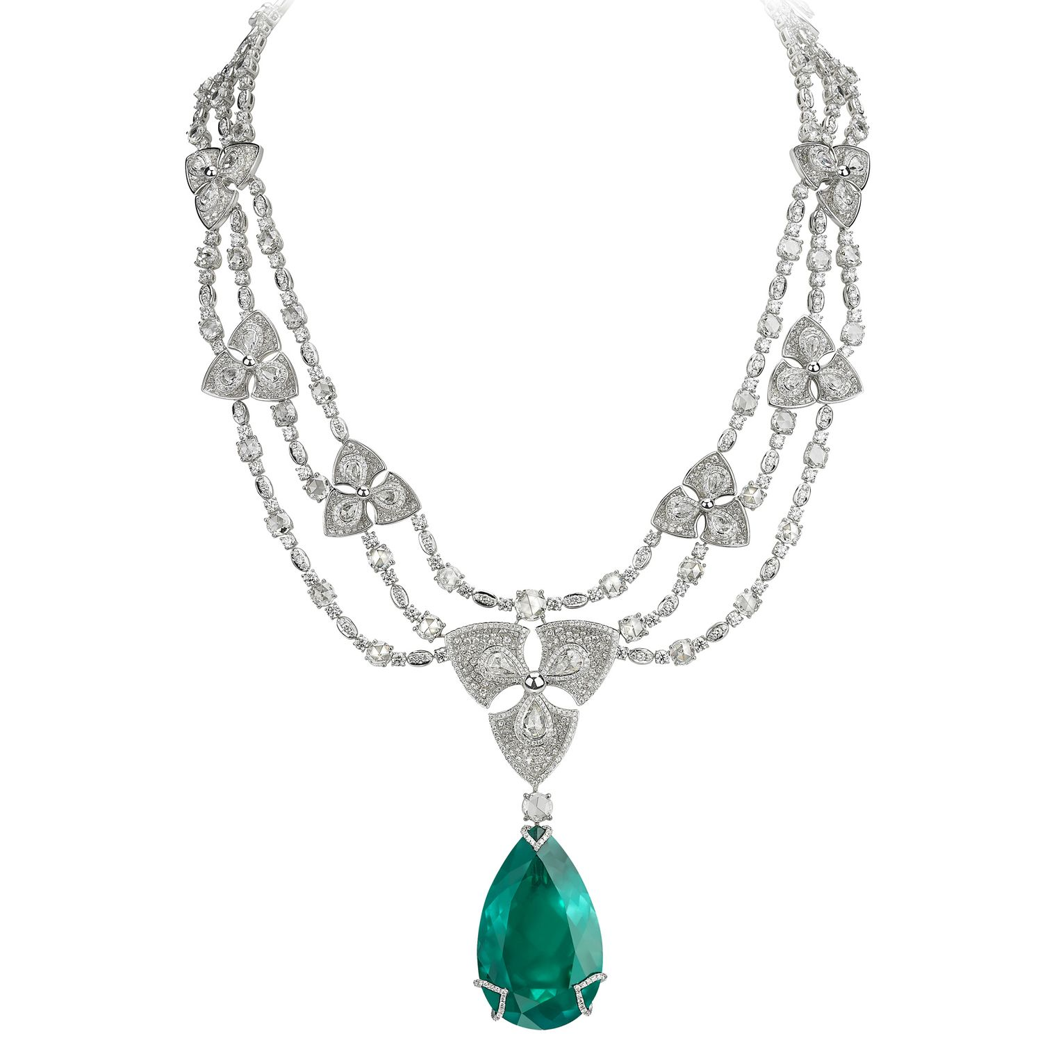 Pear-shaped Colombian emerald necklace with diamonds