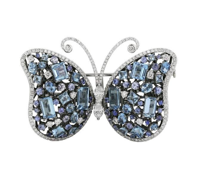 Aquamarine Sapphire Diamond Butterfly Brooch $18,500
