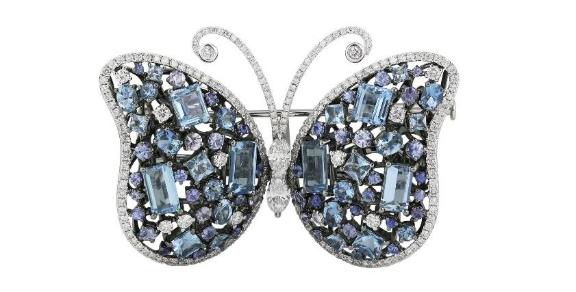 Aquamarine Sapphire Diamond Butterfly Brooch