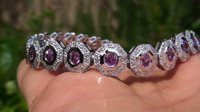 Estate 7.18 ct Natural VS Pink Sapphire Diamond 14k Gold Gold Tennis Bracelet