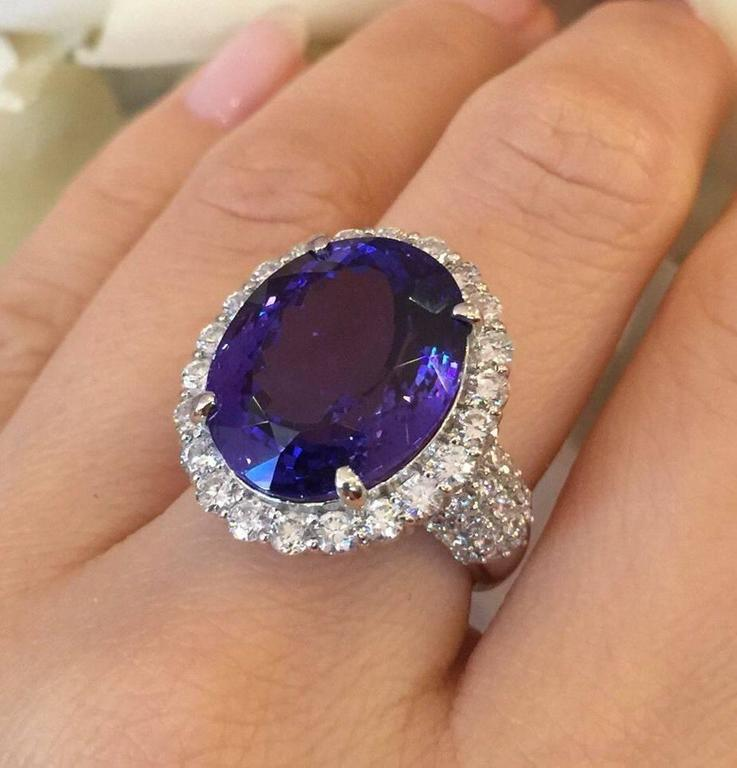 17.12 Carat Oval Tanzanite Diamond Platinum Halo Ring