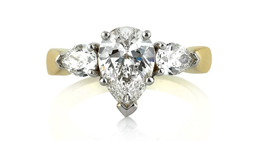 Mark Broumand 2.15ct Pear Shaped Diamond Three-Stone Engagement Ring