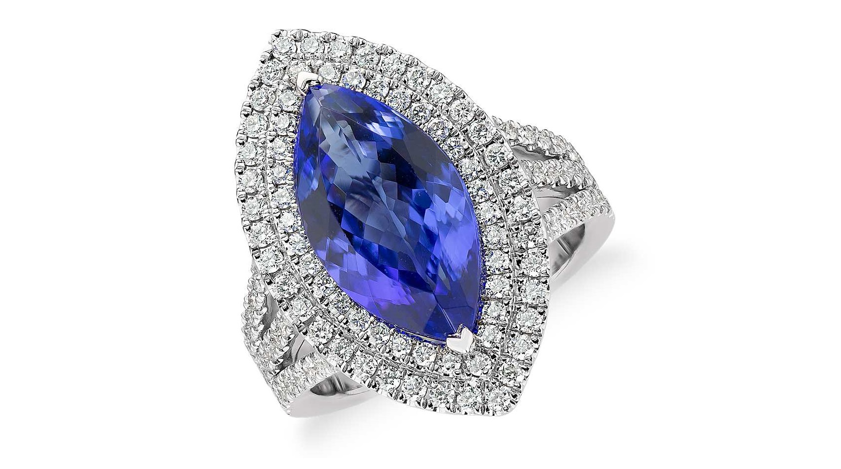 Tanzanite and Diamond Marquise Halo Cocktail Ring in 18k White Gold (5.31 ct. center)