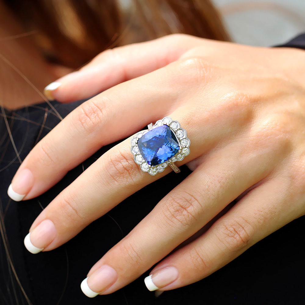 Estate Cushion Tanzanite Ring with Diamonds in 18kt White Gold 11.25ctw