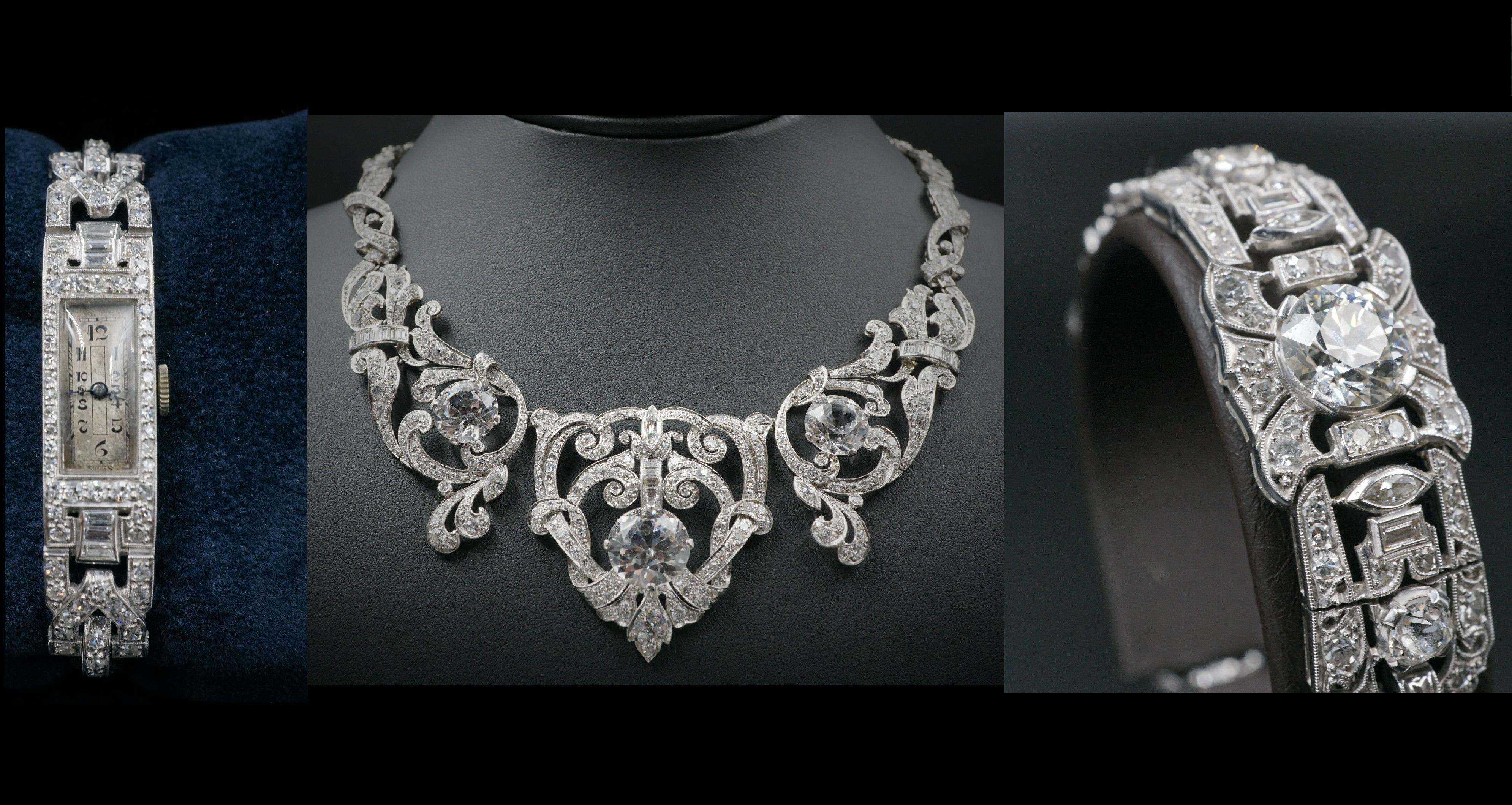 Mae West Owned Edwardian Platinum 23ct Diamond Necklace Bracelet Suite CO169