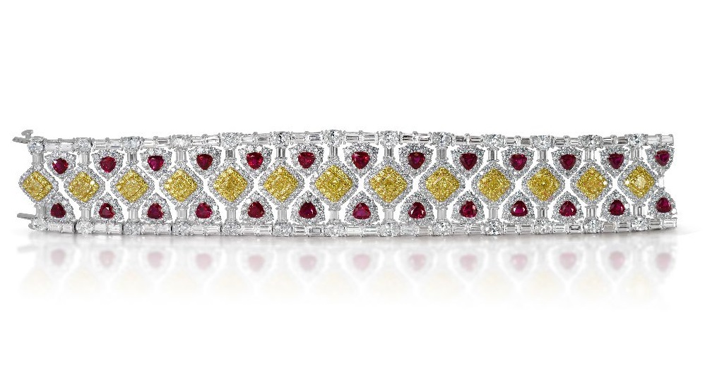 Burmese rubies and fancy yellow diamonds bracelet