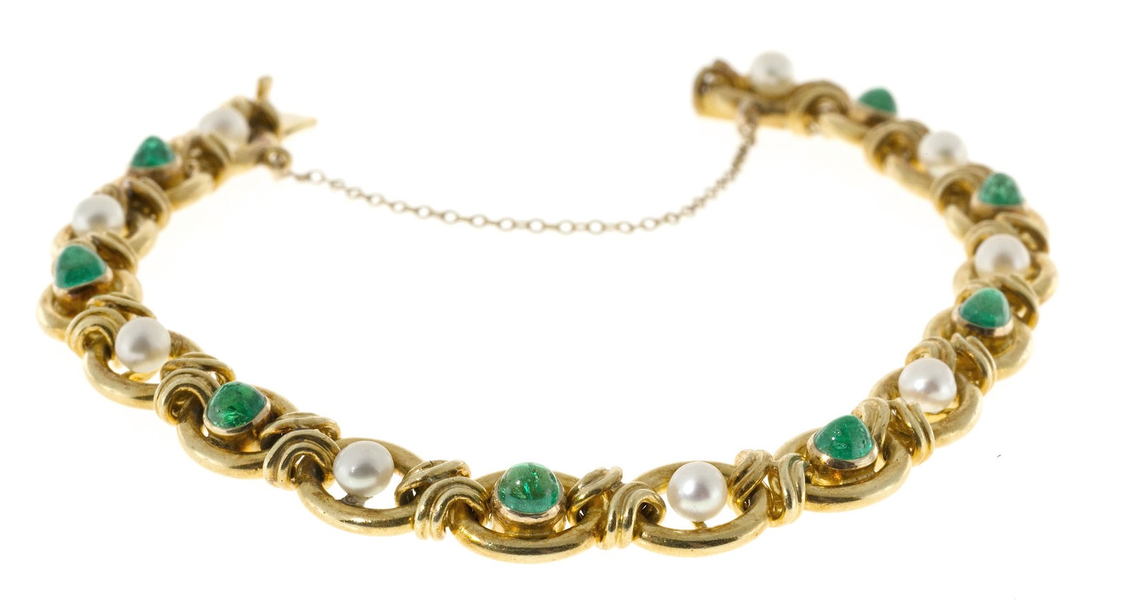 Vintage 1910 Victorian 14k Gold 9 Natural Pearl 8 Genuine Dome Emerald Bracelet