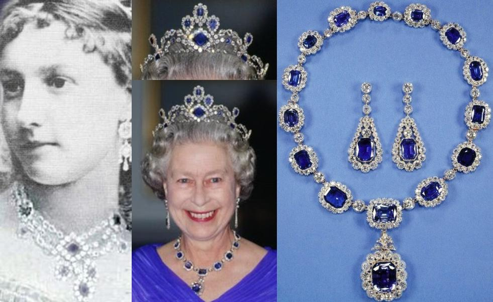 On The Left : The Necklace Used To Make Queen Elizabeth's Sapphire Tiara. (Note The Similarities) On The Right : The George VI Victorian Suite