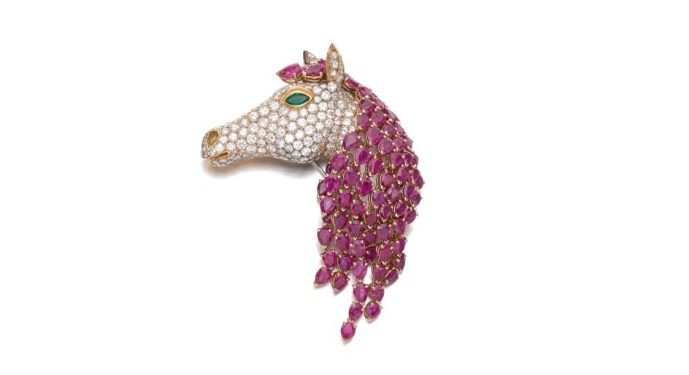 Ruby, emerald and diamond brooch