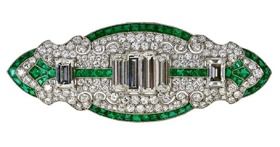 Art Deco Diamond Emerald Brooch.