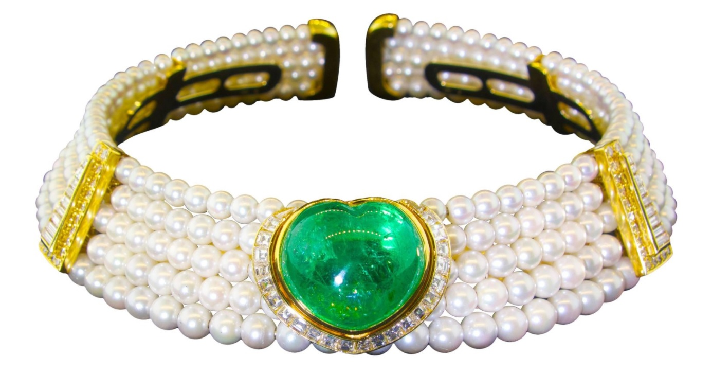 Important Heart Shaped Emerald, Diamond and Pearl Choker Necklace
