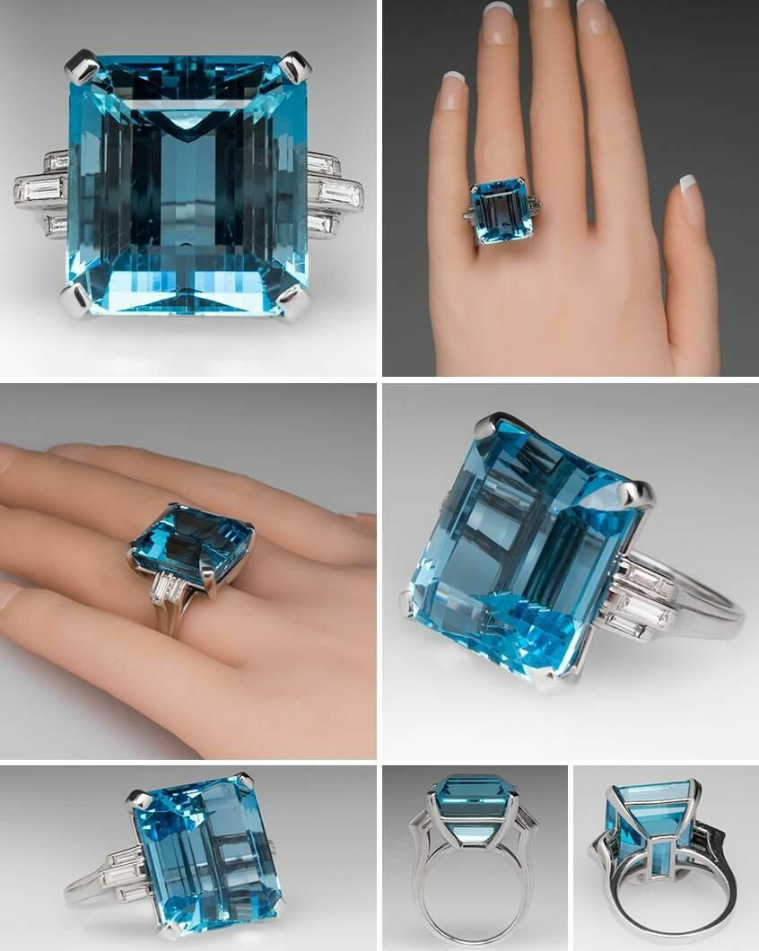 1950s 27 Carat Aquamarine Diamond Platinum Cocktail Ring