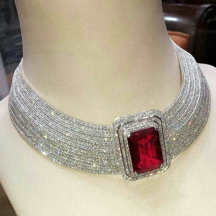 Ruby and Diamond Choker Necklace
