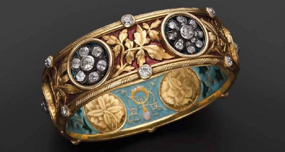 Enamel and Diamond Bangle Bracelet by Bapst and Falize c. 1887