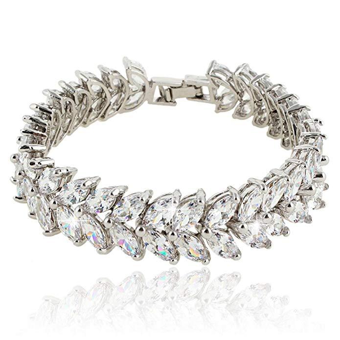 Cubic Zirconia Prong Shining Leaves Wedding Bracelet