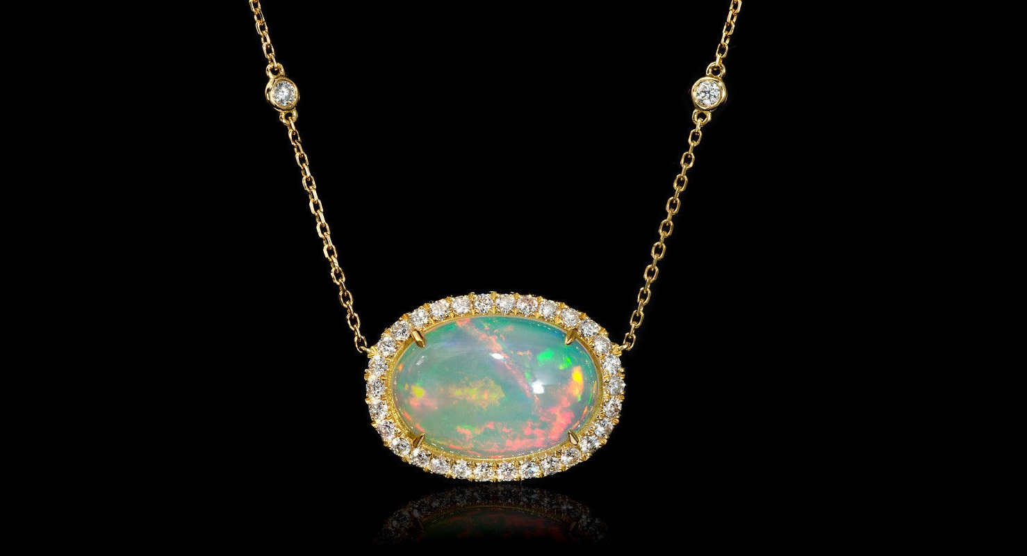 Diamond and Opal 18k Yellow Gold Pendant Necklace