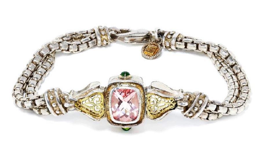 William Schraft Pink Topaz Bracelet  with Tsavorite's in Sterling & 18kt Gold