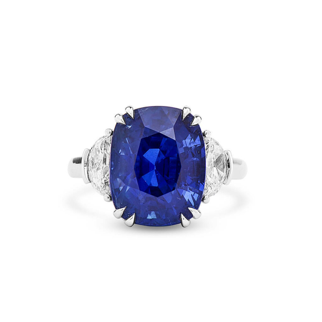Certified Unheated Natural Vivid Blue Sapphire Ring 10.04 Ct Real 18K White Gold