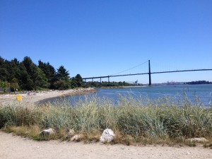 The majestic Lion's Gate Bridge, view from Ambleside Beach, North Vacouver