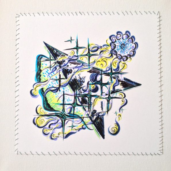 Original Drawing stitched on Canvas