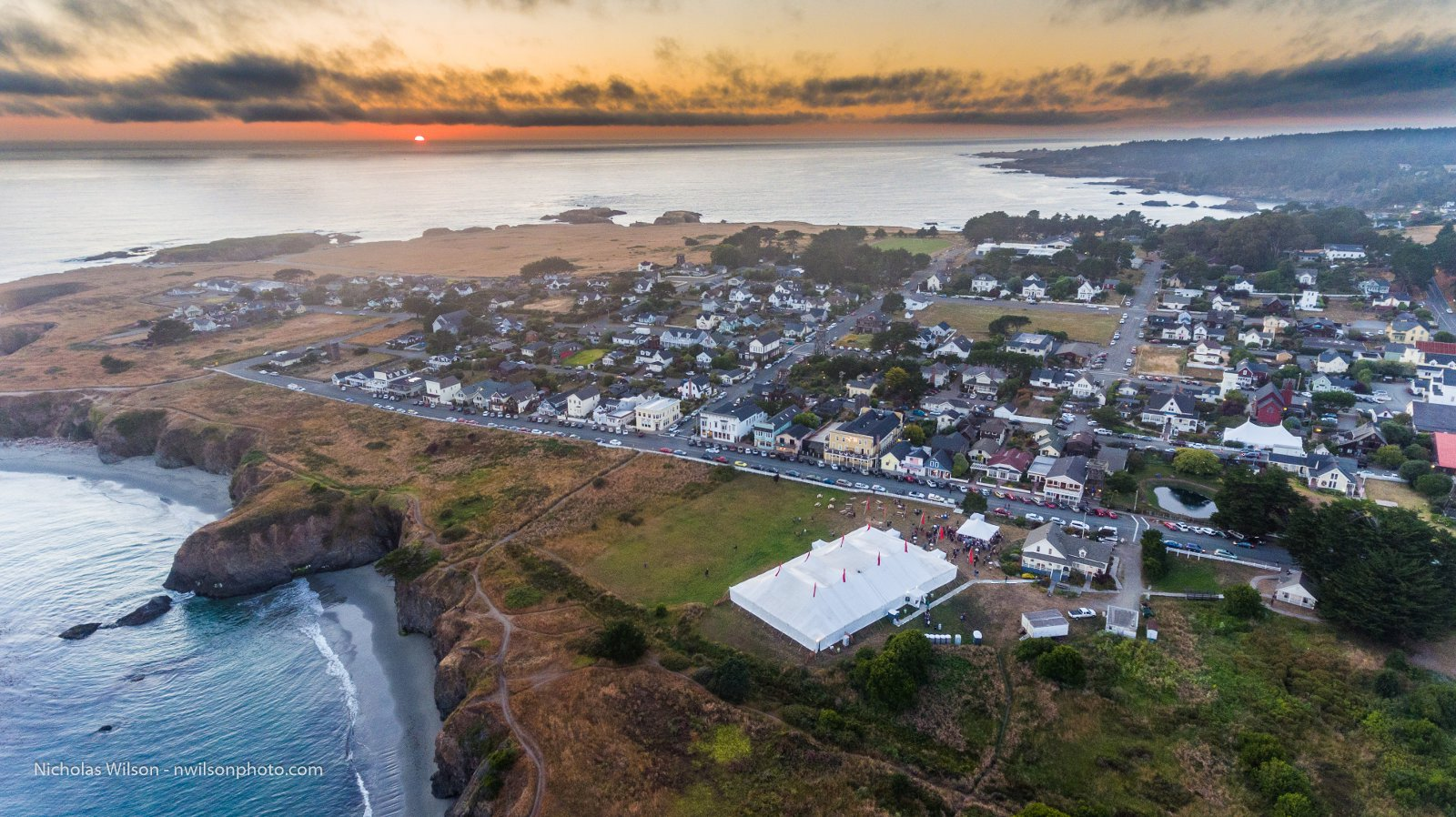 Aerial view as the sun sets over Mendocino on Opening Night of the 2016 Mendocino Music Festival, July 9, 2016.