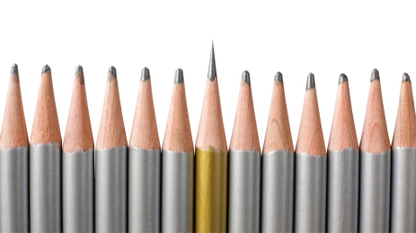 pencils in a row one sharp