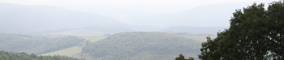 view looking down into a mountain valley, misty