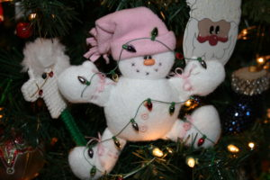 snowman ornament, tangled in lights