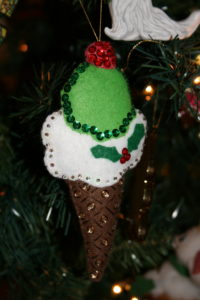 ice cream cone ornament in felt