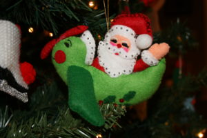 santa in a plane, felt ornament