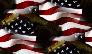 american flag, gun, and bullets