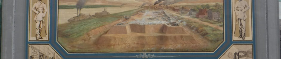 A floodwall panel with a big midle, then small designs on top, bottom, sides, corners