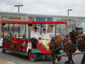 Trolly car pulled by horses
