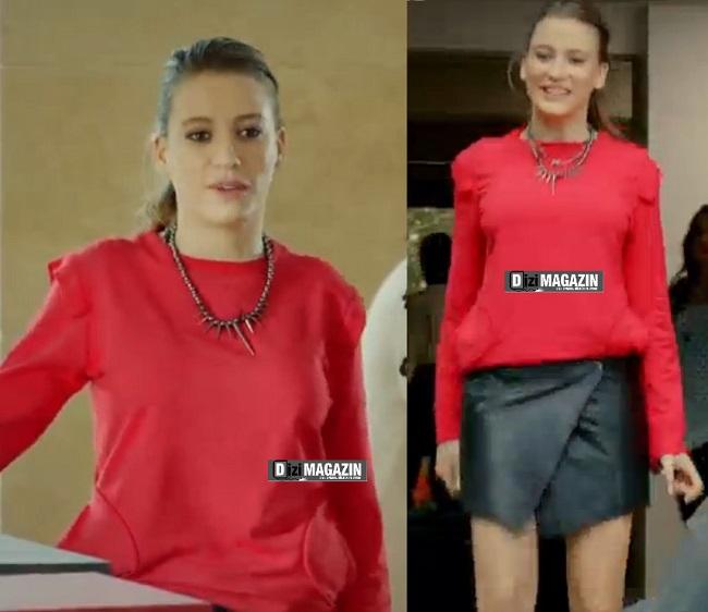 Medcezir - Mira - Kırmızı Bluz - Siyah Deri Etek - Section Mode Unique