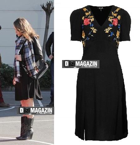 Mira - Siyah Yırtmaçlı Elbise - Topshop