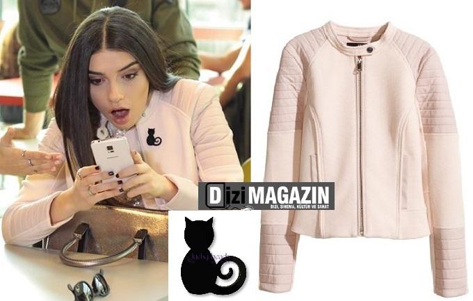Medcezir Eylül - Ceket H&M - Siyah Kedili Broş Lucy Beads