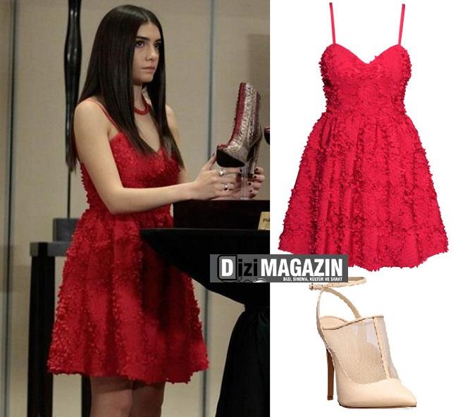 Medcezir Eylül Kırmızı Elbise - H&M - Medcezir 47. Bölüm