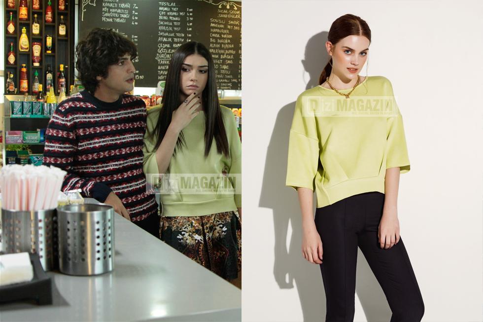 Medcezir Eylül Yeşil Bluz Twist