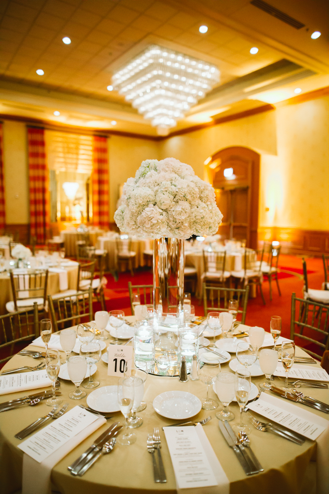 Gold and ivory wedding centerpiece
