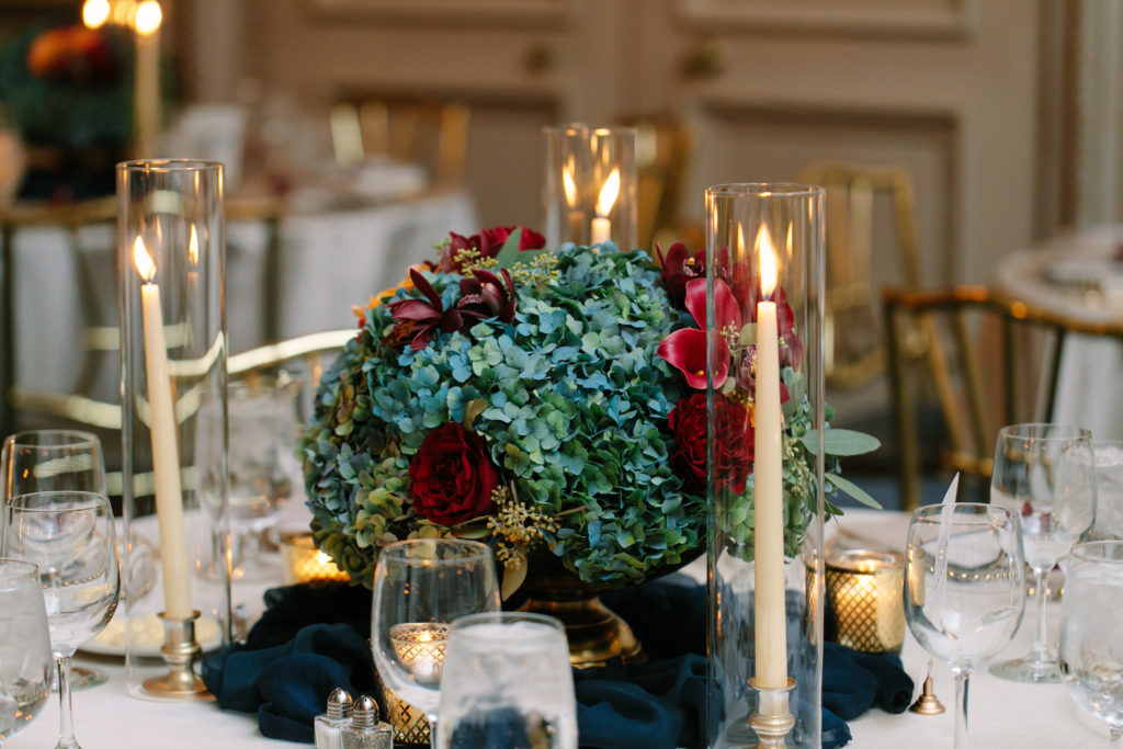 Wedding Flowers, Blue and Burgundy, Athletic Club of Columbus