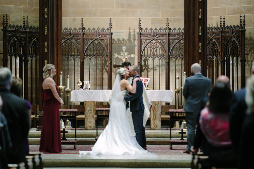 Bride and Groom, First Kiss, St. Joseph Cathedral Wedding