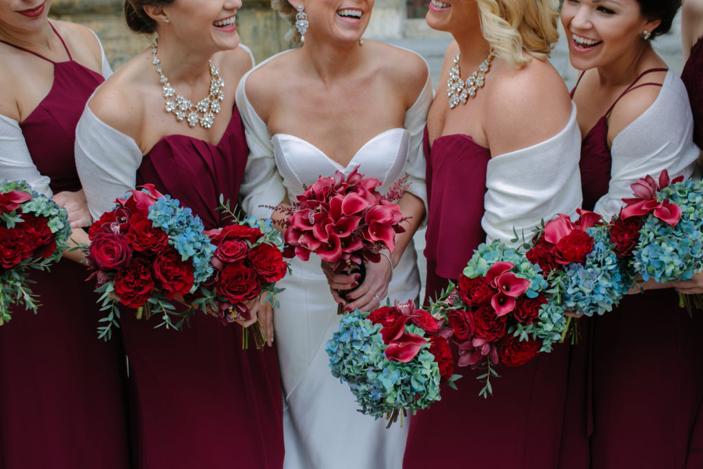 Bridal Party, Burgundy and Blue Wedding