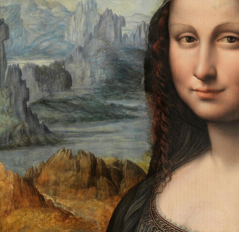 De Mona Lisa van Leonardo da Vini met op de achtergrond de balze