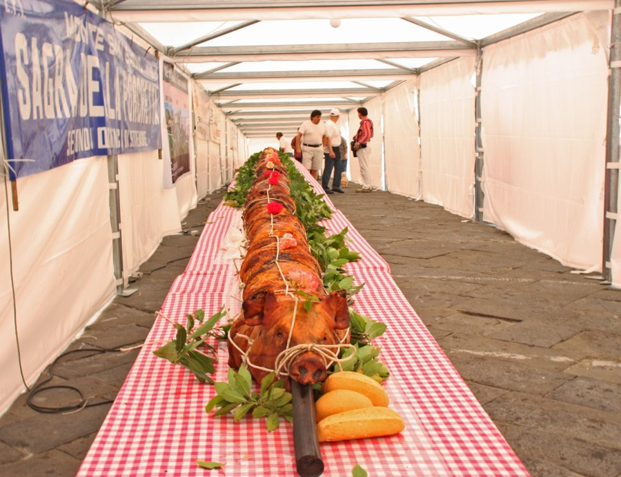 De langste porchetta ter wereld bevindt zich in Monte San Savino
