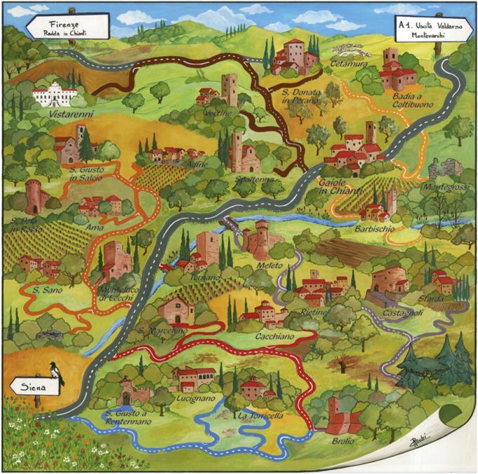 aanduiding van de verschillende routes