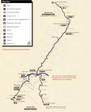 Grand Canyon Hiking Map