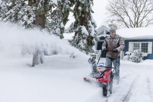 snow blowing sidewalk clearing drive plowing