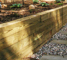 Timber Landscaping retaining wall